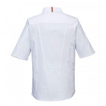 Бяла готварска куртка с къс ръкав MeshAir Pro