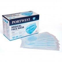 Индивидуално опаковани медицински маски  Type IIR, PORTWEST, 50бр.